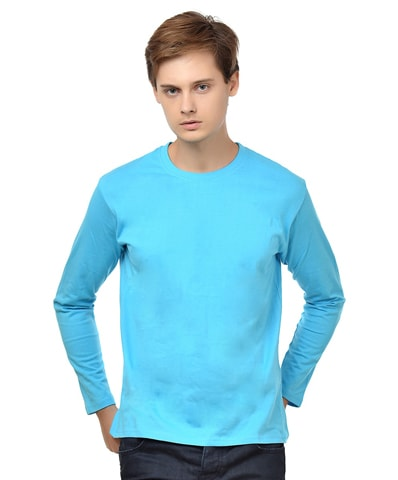 Men's Turquoise Round Neck T-Shirt Full Sleeve