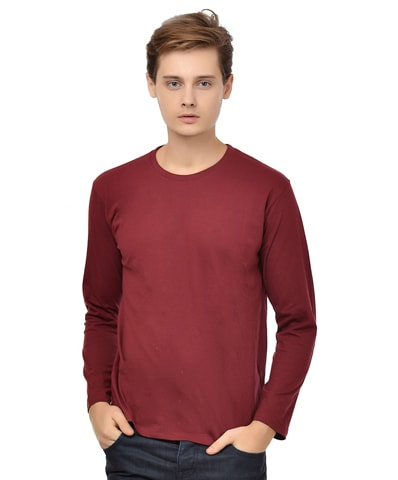 Men's Maroon Round Neck T-Shirt Full Sleeve