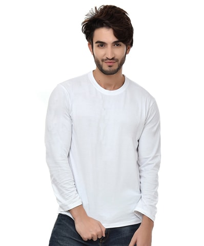 Men's White Round Neck T-Shirt Full Sleeve