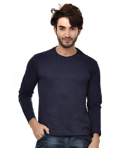 Men's Navy Round Neck T-Shirt Full Sleeve