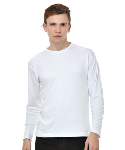 Men's White Sports Tee Full Sleeve