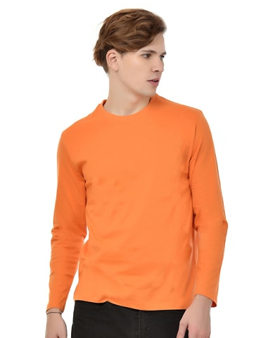 Men's Orange Round Neck T-Shirt Full Sleeve
