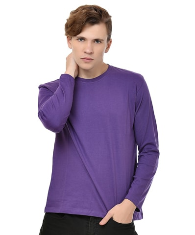Men's Purple Round Neck T-Shirt Full Sleeve