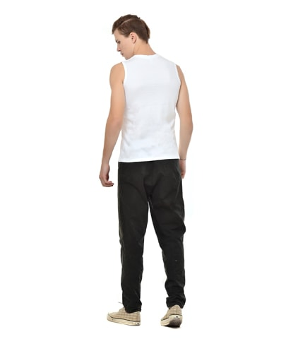 87bedf1b9af7c White Round Neck Sleeveless Plain (Blank) T-Shirt for Men in India