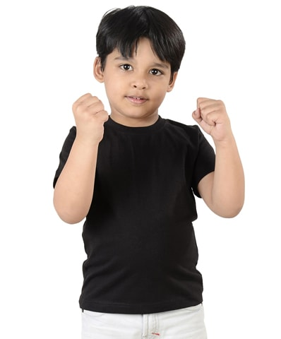 Kid's Black Round Neck T-Shirt Half Sleeve