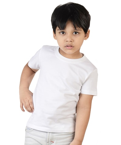Kid's White Round Neck T-Shirt Half Sleeve