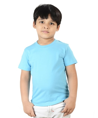 Kid's Turquoise Round Neck T-Shirt Half Sleeve