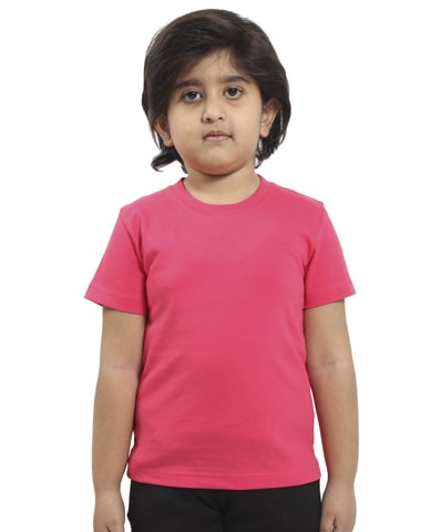 Kid's Fuchsia Round Neck T-Shirt Half Sleeve