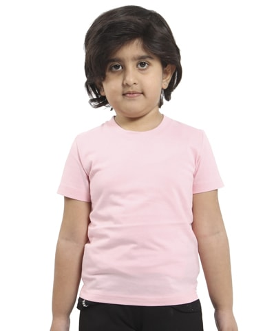 Kid's Pink Round Neck T-Shirt Half Sleeve