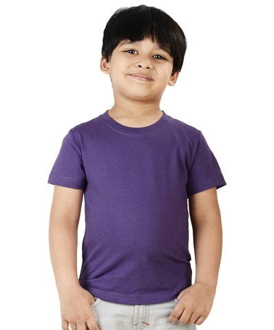 Kid's Purple Round Neck T-Shirt Half Sleeve