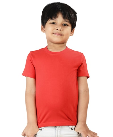 Kid's Red Round Neck T-Shirt Half Sleeve