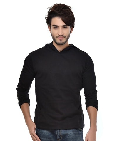 Men's Black Fleece Hooded T-Shirt Full Sleeve