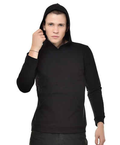 Men's Black Fleece Hooded Sweatshirt Full Sleeve