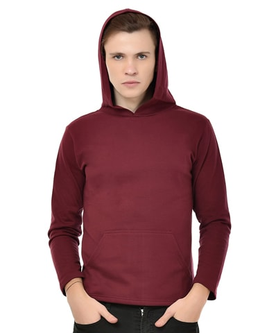 Men's Maroon Fleece Hooded T-Shirt Full Sleeve