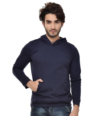 Men's Navy Fleece Hooded Sweatshirt Full Sleeve