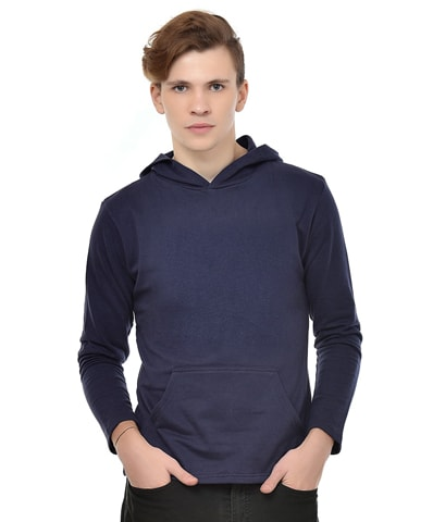 Men's Navy Fleece Hooded T-Shirt Full Sleeve