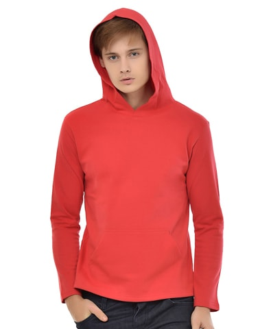 Men's Red Fleece Hooded T-Shirt Full Sleeve