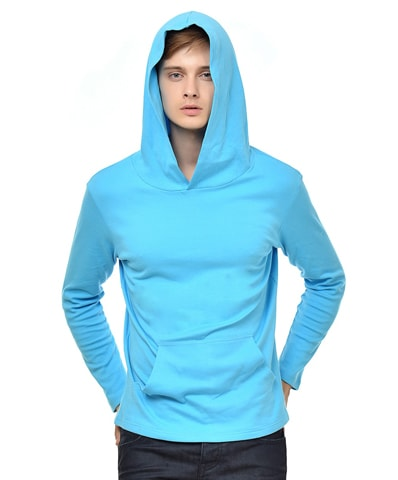 Men's Turquoise Hooded Full Sleeve T-Shirt
