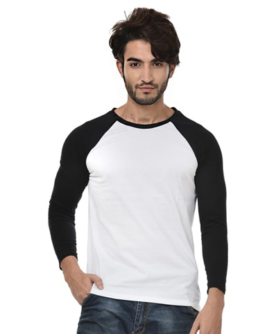 Men's White-Black Raglan T-Shirt Full Sleeve