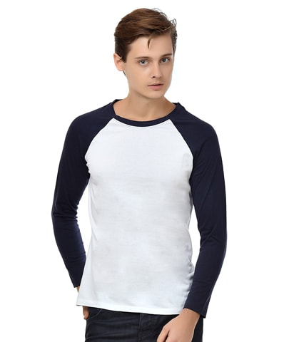 Men's White-Navy Raglan T-Shirt Full Sleeve