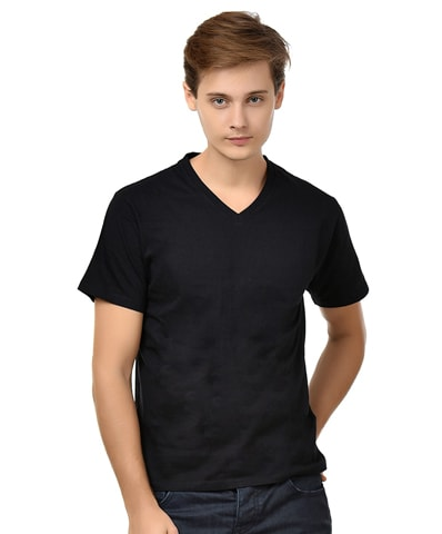 Men's Black V-Neck T-Shirt Half Sleeve