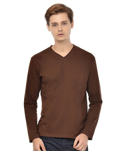 Men's Chocolate V-Neck T-Shirt Full Sleeve