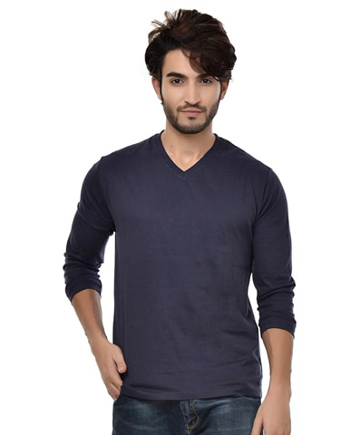 Men's Navy V-Neck T-Shirt Full Sleeve