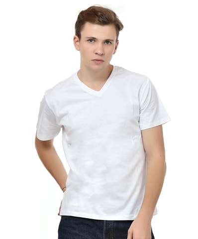 Men's White V-Neck T-Shirt Half Sleeve