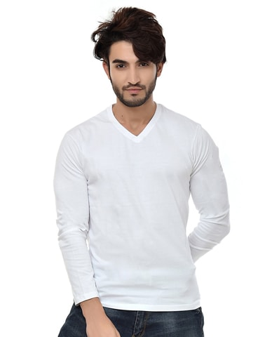 Men's White V-Neck T-Shirt Full Sleeve