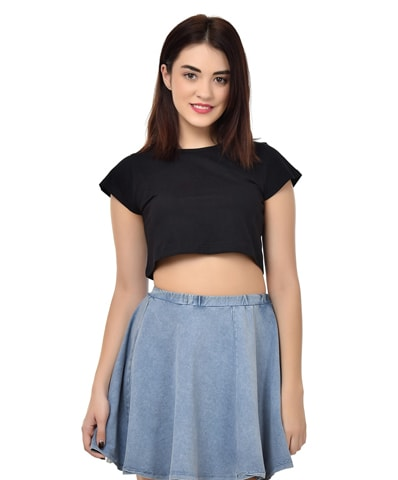 Women's Black Crop Top Half Sleeve