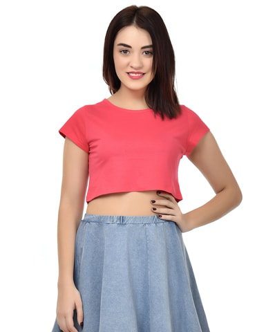 Women's fuchsia Crop Top Half Sleeve