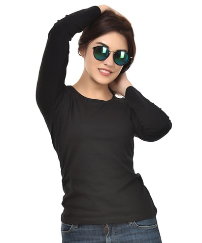 Women's Black Round Neck T-Shirt Full Sleeve