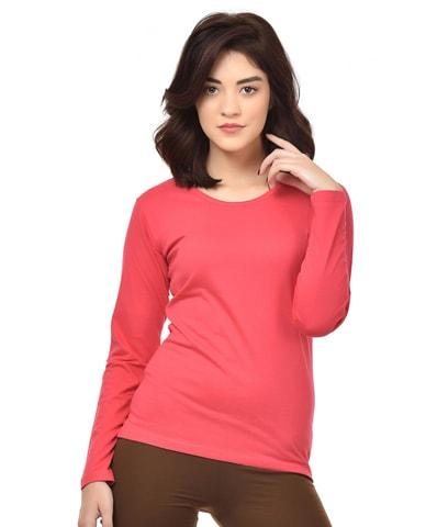 Women's Fuchsia Round Neck T-Shirt Full Sleeve