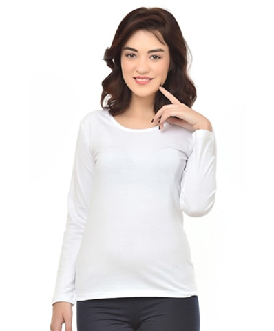 Women's White Round Neck T-Shirt Full Sleeve