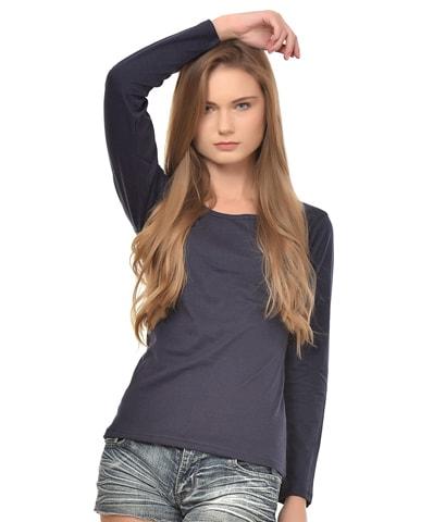 Women's Navy Round Neck T-Shirt Full Sleeve