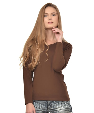 Women's Chocolate Round Neck T-Shirt Full Sleeve