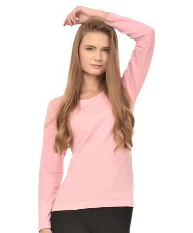 Women's Pink Round Neck T-Shirt Full Sleeve