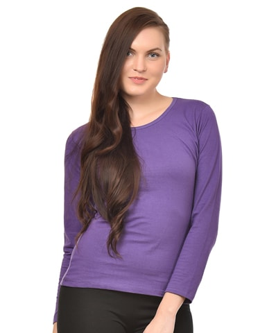 Women's Purple Round Neck T-Shirt Full Sleeve
