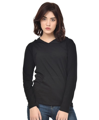 Women's Black Hooded T-Shirt Full Sleeve