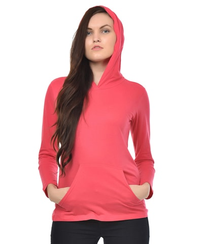 Women's Fuchsia Hooded T-Shirt Full Sleeve