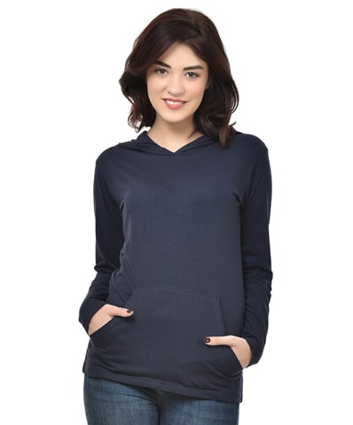 Women's Navy Hooded T-Shirt Full Sleeve