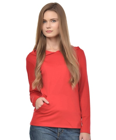 Women's Red Hooded T-Shirt Full Sleeve