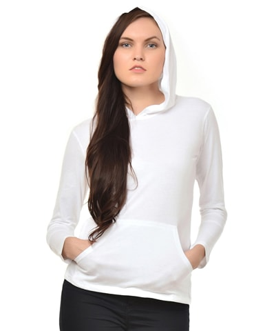Women's White Hooded T-Shirt Full Sleeve