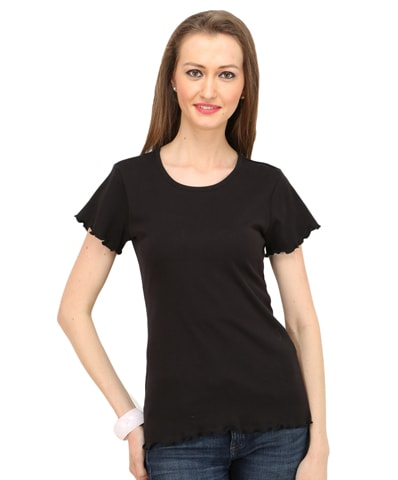 Women's Black Lettuce Edge Tee Half Sleeve