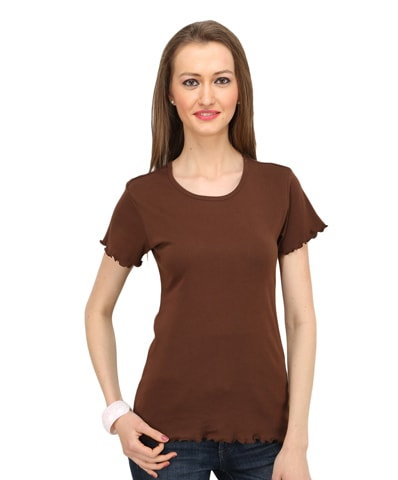 Women's Chocolate Lettuce Edge Tee Half Sleeve