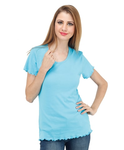 Women's Turquoise Lettuce Edge Tee Half Sleeve