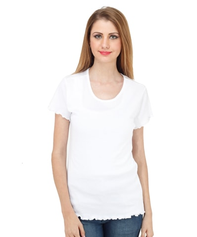 Women's White Lettuce Edge Tee Half Sleeve