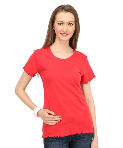 Women's Red Lettuce Edge Tee Half Sleeve