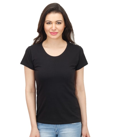 Women's Black Round Neck T-Shirt Half Sleeve