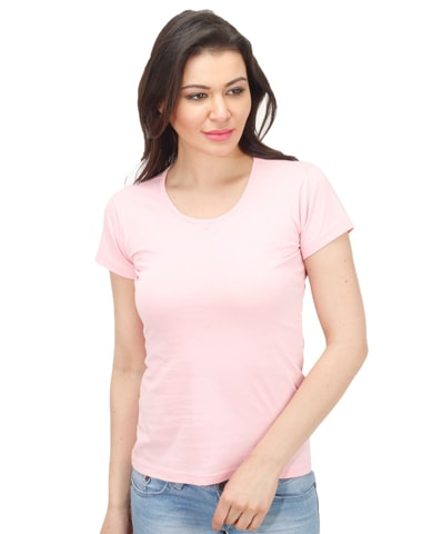 Women's Pink Round Neck T-Shirt Half Sleeve